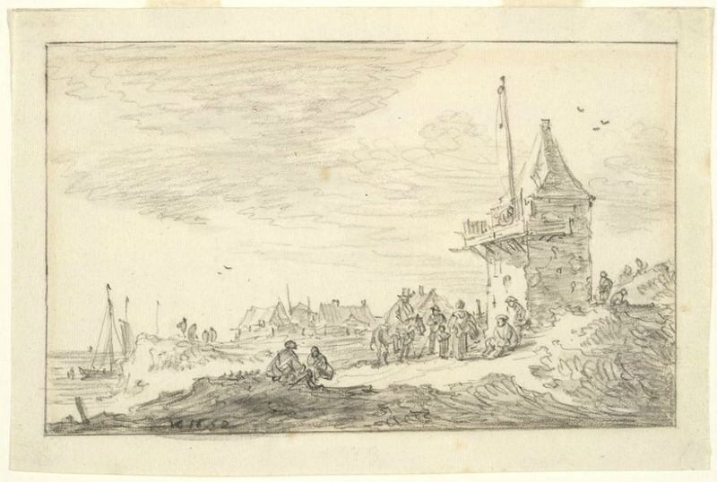 Jan van Goyen, Dutch (Leiden 1596 - 1656 The Hague), On the Seashore, 1652. Black chalk and gray wash on cream antique laid paper, framing line in black chalk, 14.3 x 21.7 cm (5 5/8 x 8 9/16 in.). Harvard Art Museums/Fogg Museum, Bequest of Meta and Paul J. Sachs, 1965.204. © President and Fellows of Harvard College.