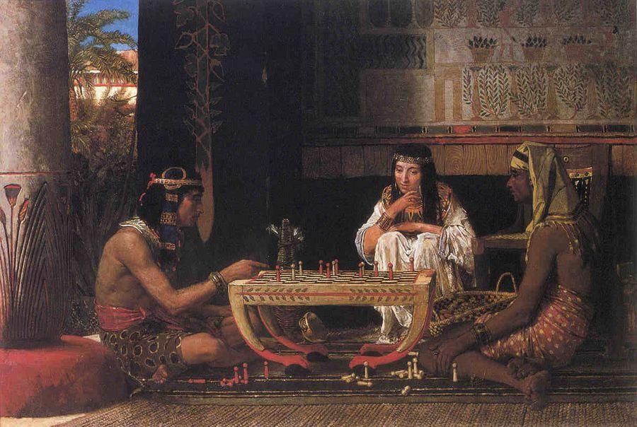لوحة لاعبوا شطرنج مصريين للرسام الهولندي لورنس ألما تديما رسمت عام 1879 زيت على قماش Lawrence Alma Tadema Library Of Alexandria Lawrence