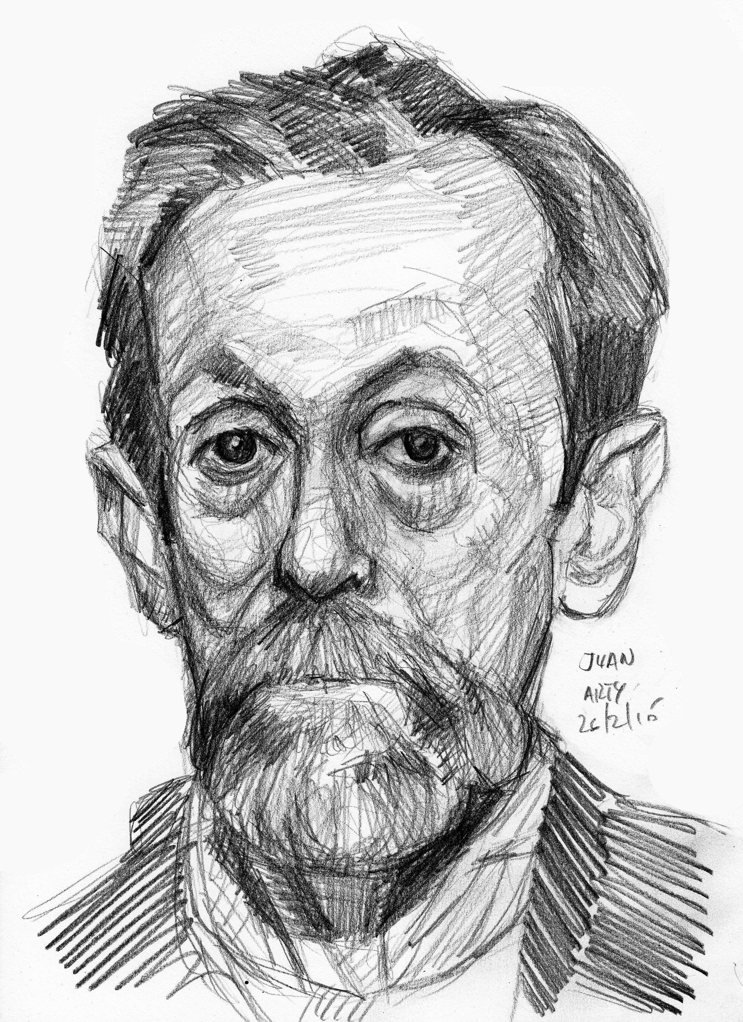 Juan pencil 4b drawing lessons painting art dots pencil human head