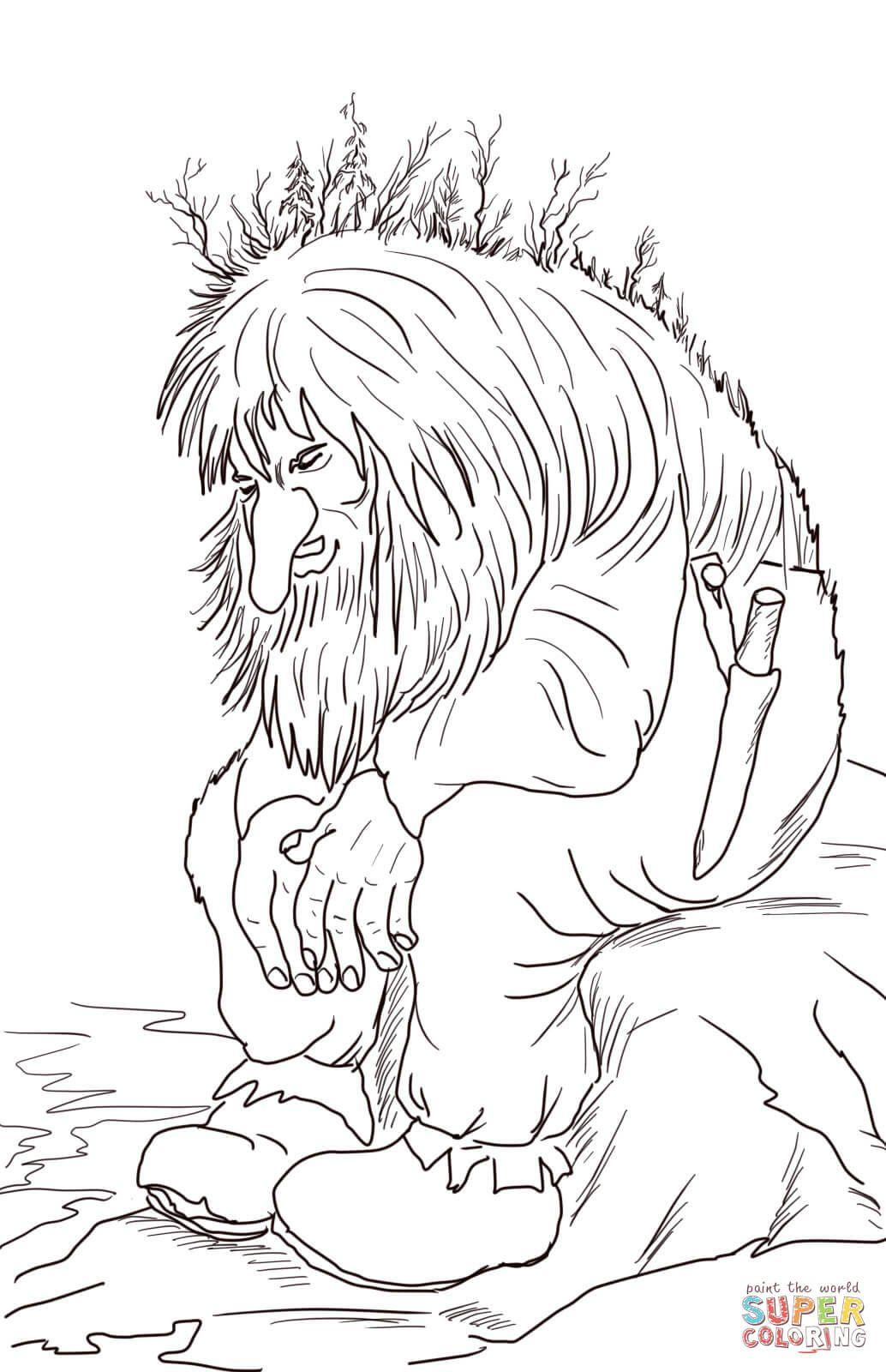 Norwegian Troll Super Coloring Lineart Fantasy Coloring Pages