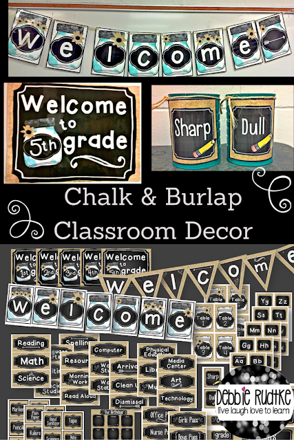 Chalk & Burlap Classroom EDITABLE Decor - Chalkboard, Burlap, Mason Jars -  Check it out in my stor