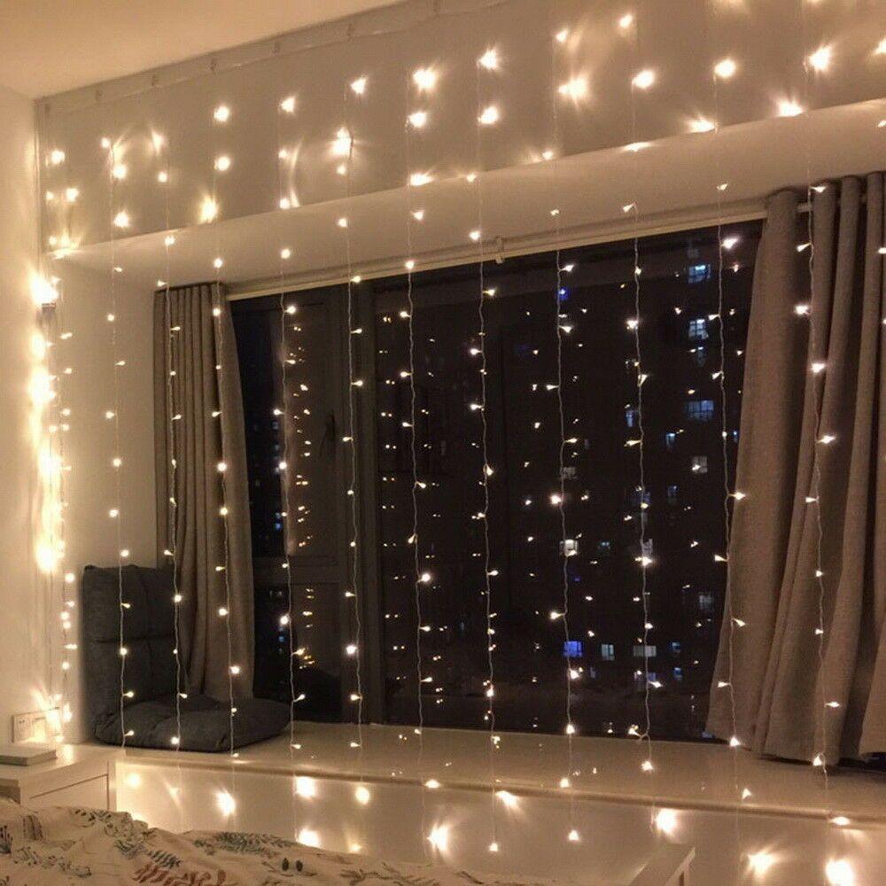 christmas curtain net lights