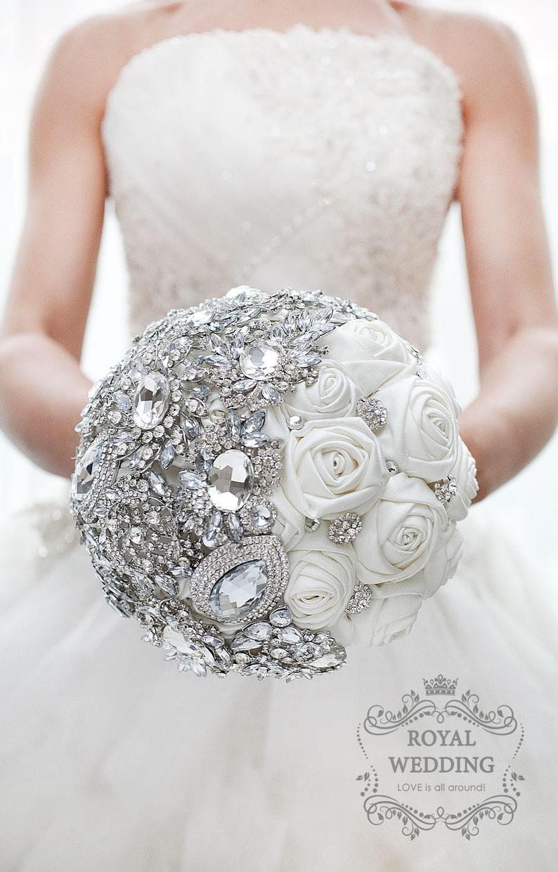 White Fabric Wedding Brooch Bouquet Ivory Silver Bridal Bouquet