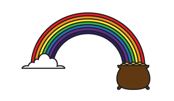 How To Draw A Rainbow With A Pot Of Gold Gold Drawing Pot Of Gold Drawings