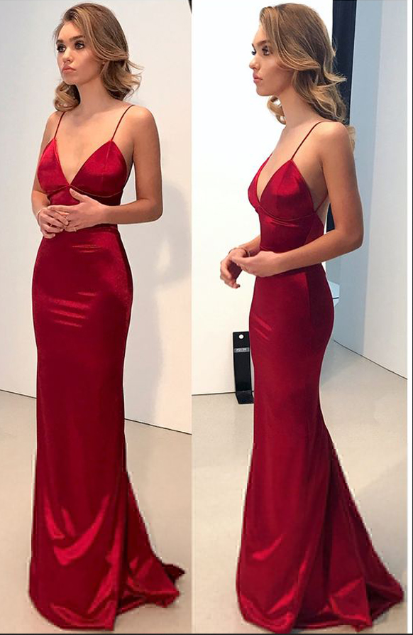 37afb87bc7 Simple Backless Dark Red Prom Dress