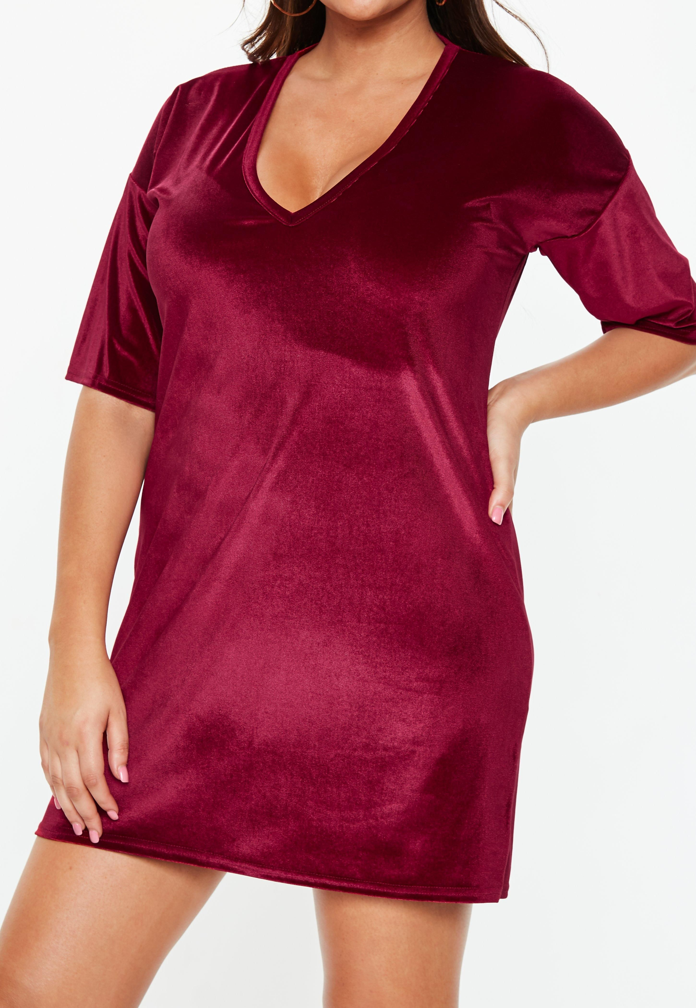 9a536fc257b Plus Size Burgundy V Neck Velvet T Shirt Dress Neck