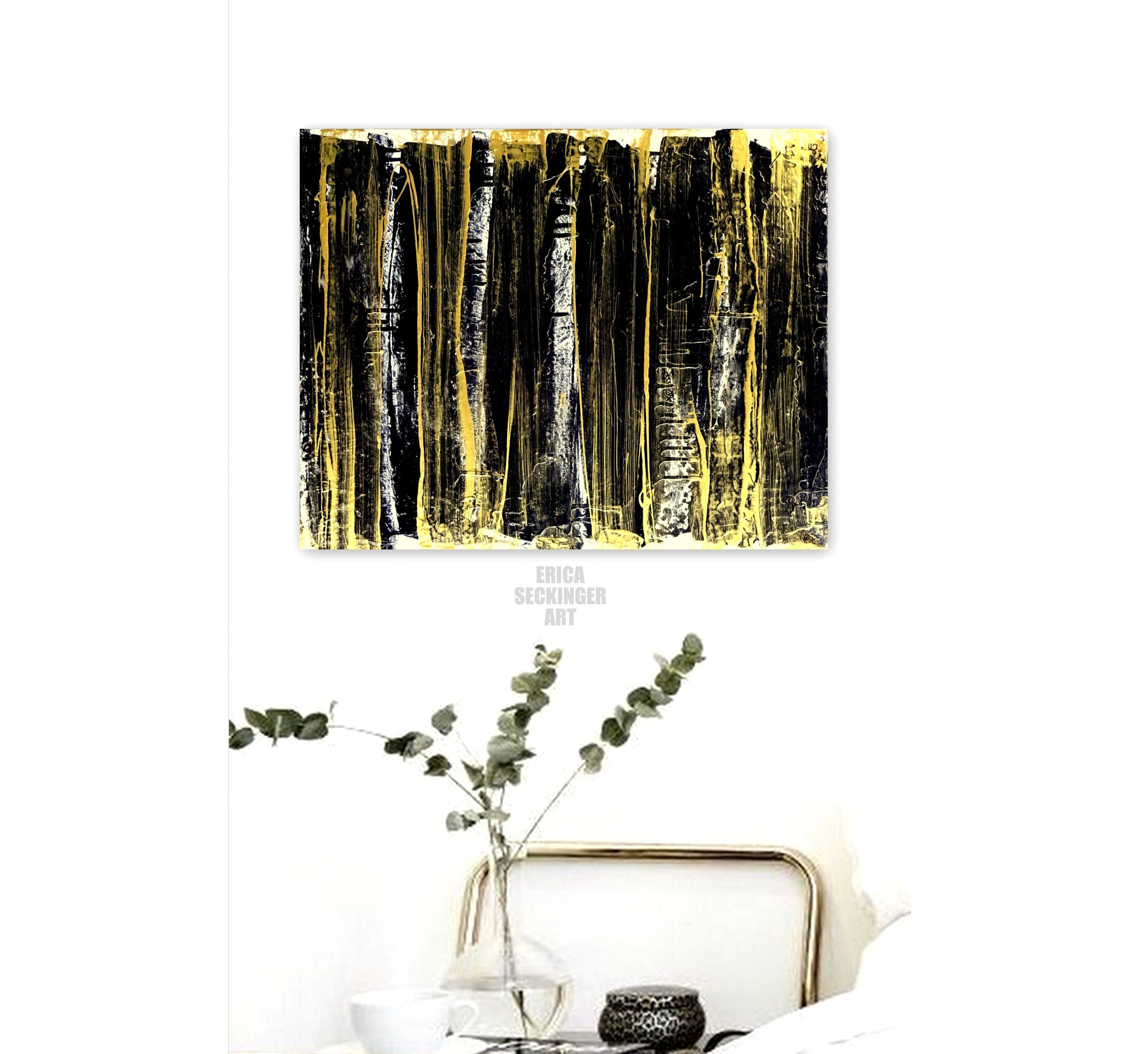 Black gold abstract painting original painting contemporary canvas