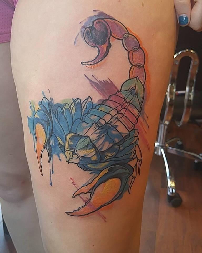 My Watercolor Scorpion Tattoo Scorpion Tattoo Scorpio Tattoo Tattoos
