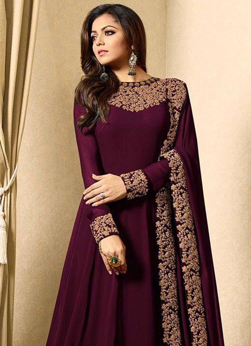 3b0130ace Drashti Dhami Wine Embroidered Anarkali Suit