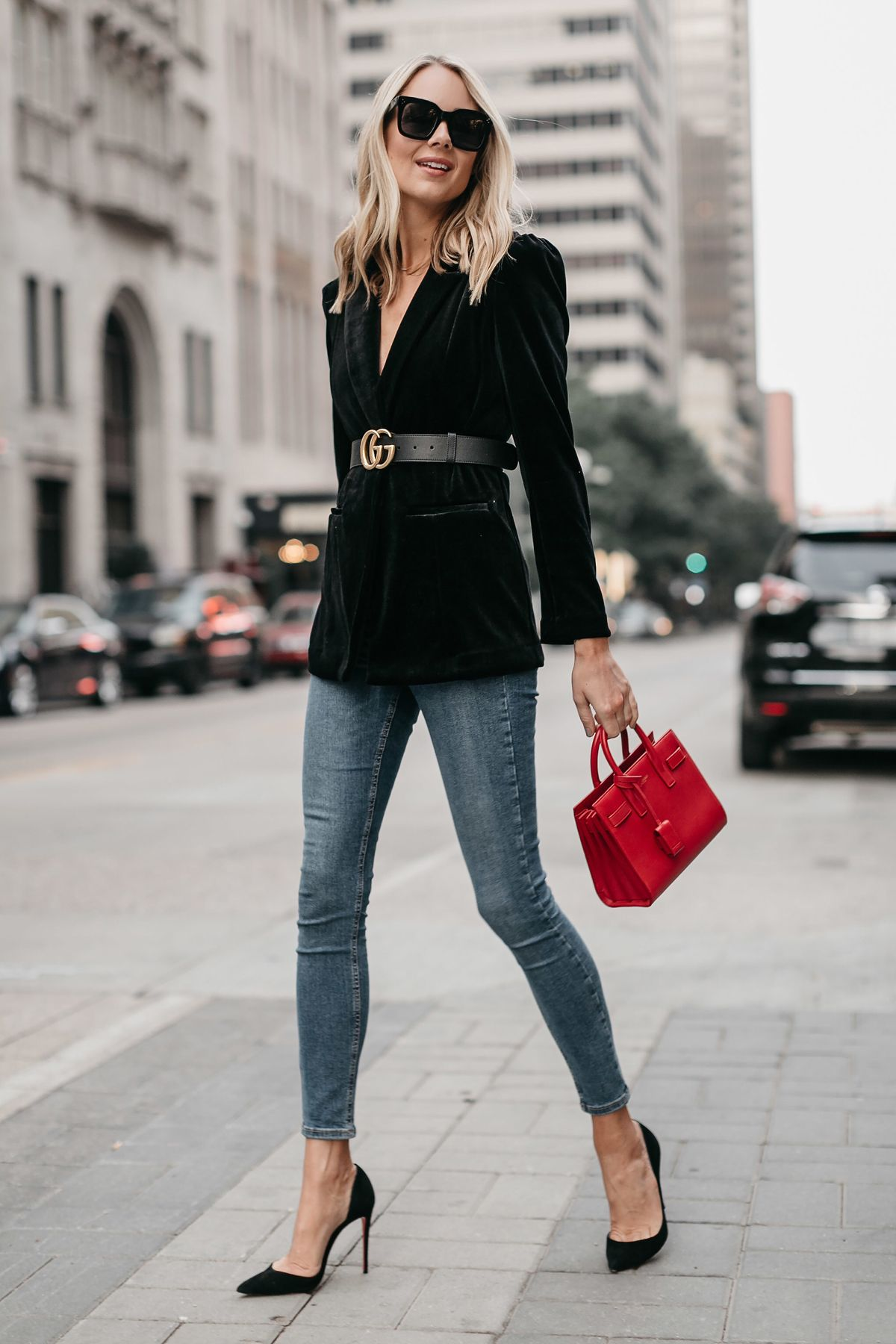 a97a336bf Blonde Woman Wearing Black Velvet Blazer Gucci Marmont Belt Denim Skinny  Jeans Black Pumps Saint Laurent Red Sac De Jour Fashion Jackson Dallas  Blogger ...