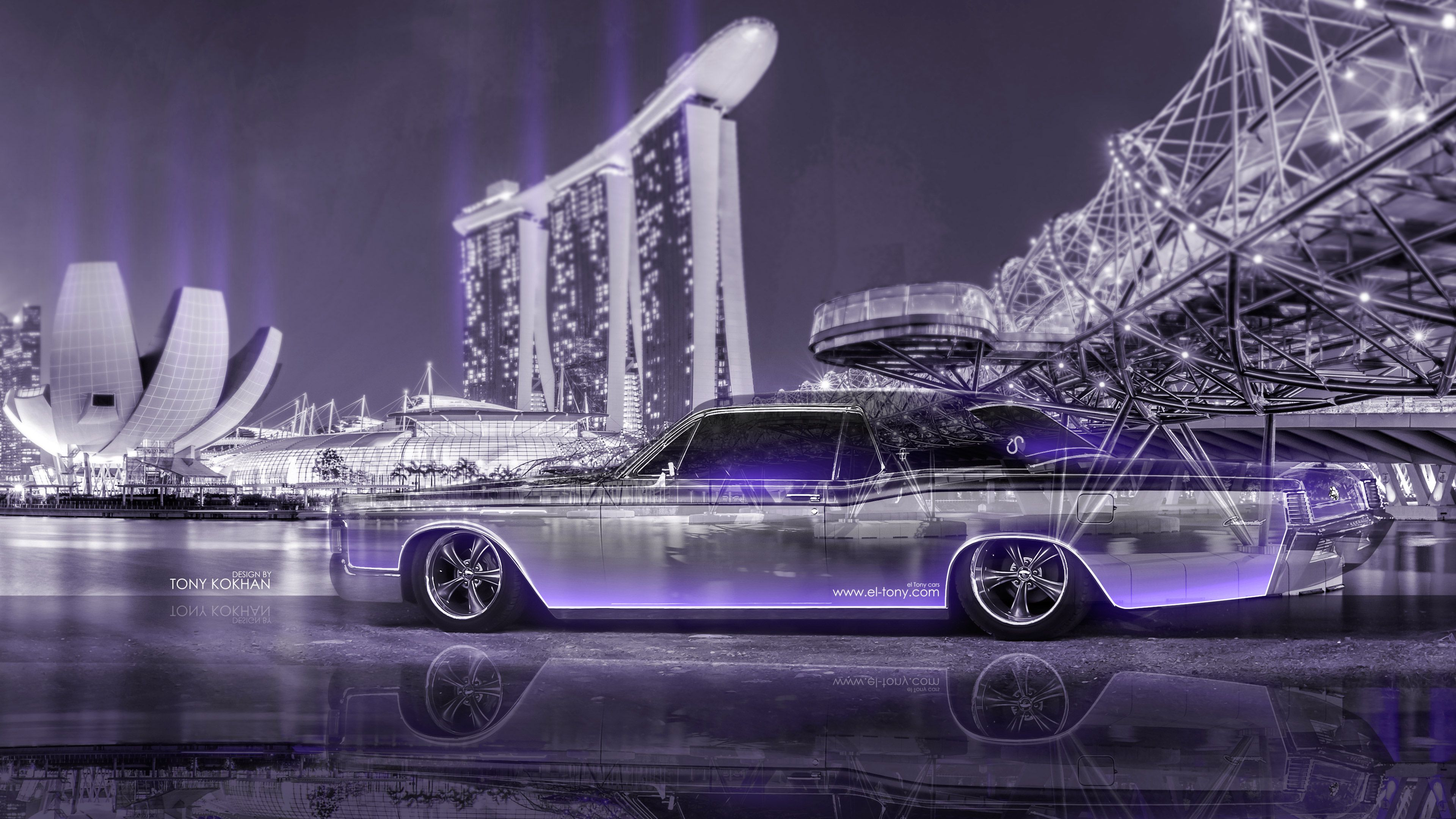 Lincoln Continental Crystal City Night Neon Car 2015   Honda Civic JDM  Tuning Super Anime Girl Energy Night City Fog Smoke Car Eldorado Coupe  Retro Crystal ...
