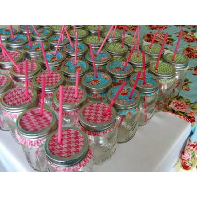 GREAT & CUTE IDEA! Mason jars with cupcake liners...keep the bugs out of your summer beverages :)