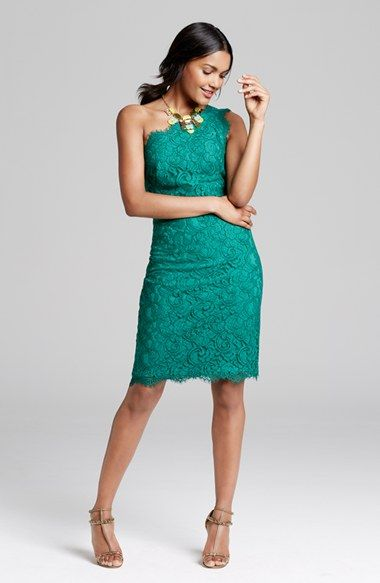 One shoulder lace style - in such a lovely color! Perfect wedding ...