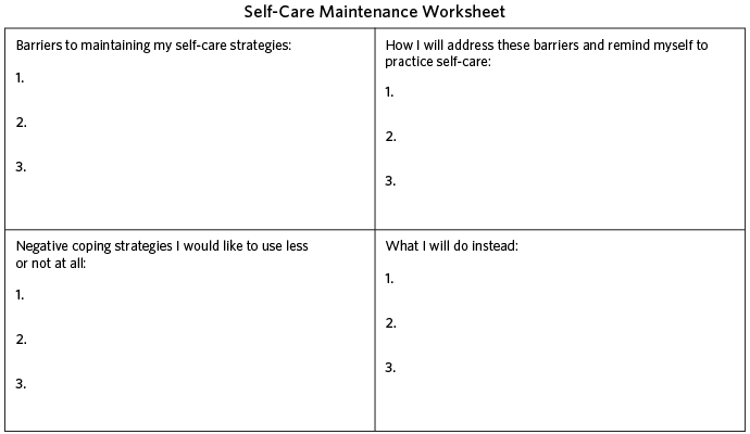 self-care maintenance worksheet | Self care ideas/activities ...