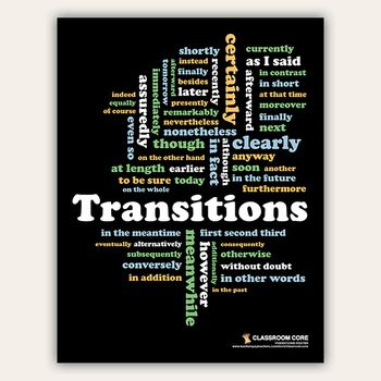 What could be some transition worlds i can use for my essay?