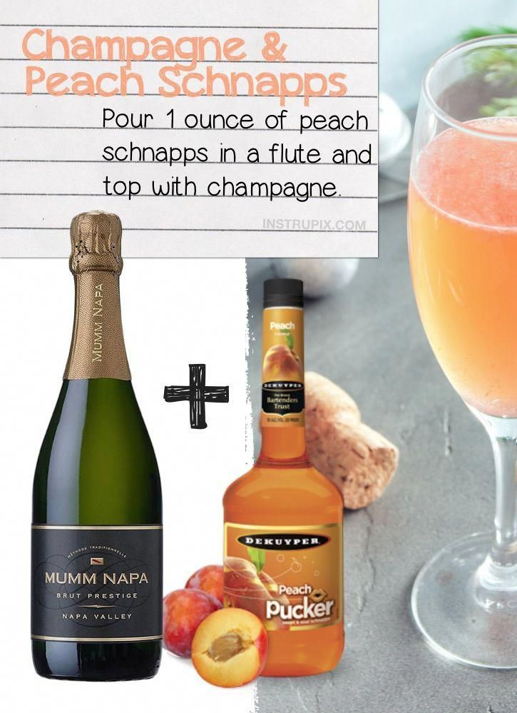 Champagne and Peach Schnapps and Peach Schnapps | 8 Ways You Didn't Know You Could Drink Wine- to make it better, colder or more flavorful. Simple tips and tricks including wine cubes, spritzers, frozen fruit, cocktails, drink recipes and more!