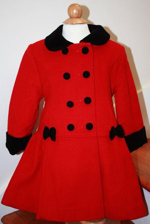 delicate colors price reduced on sale VTG Rothschild Red Wool Toddler Coat, Black Velvet Trimmed ...