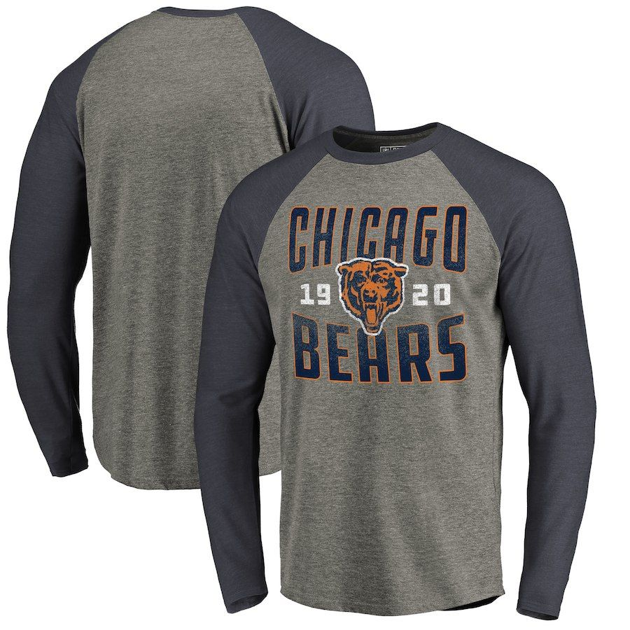 ca40132a9f8 XL Men's NFL Pro Line by Fanatics Branded Ash Chicago Bears Timeless  Collection Antique Stack Long Sleeve Tri-Blend Raglan T-Shirt