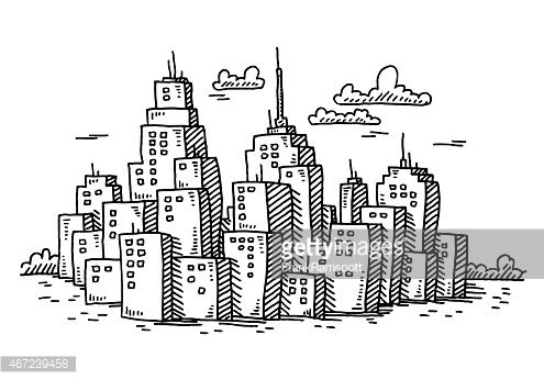 Hand-drawn vector drawing of a Cityscape with Cartoon ...