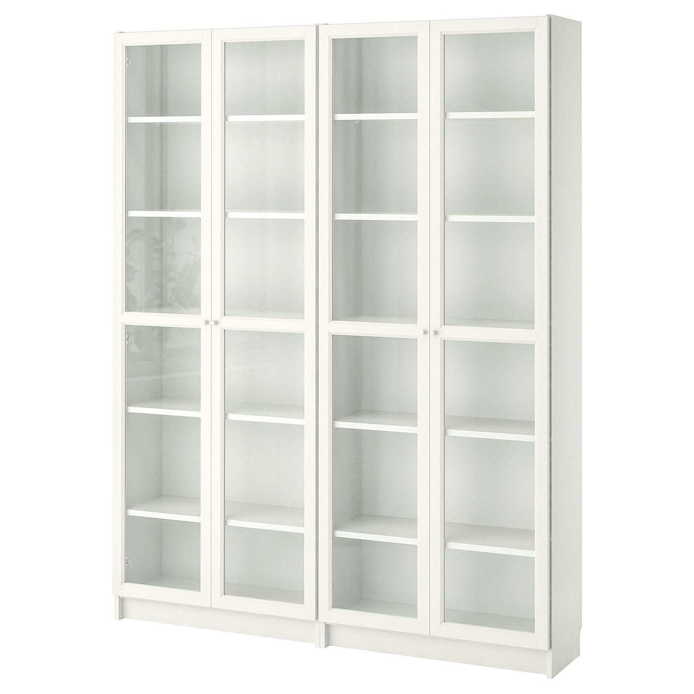 Billy Oxberg Bookcase White Glass 63x11 3 4x79 1 2 Ikea In 2020 Glass Bookcase Bookcase With Glass Doors White Bookcase