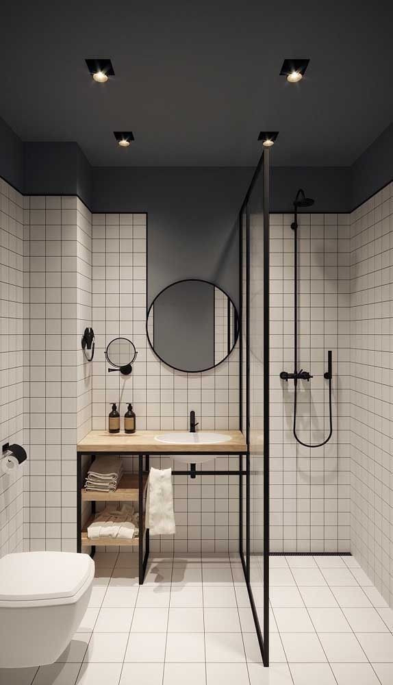 This Bathroom Would Be Harmonious If It Weren T For The Sharp Dark Ceilings That Come Down Into The In 2020 Bathroom Interior Design Bathroom Interior Bathroom Design