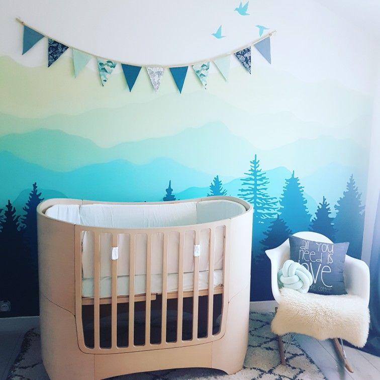 Nursery Décor Baby Boy Ombré Mountain Mural Gradient Chambre Bébé