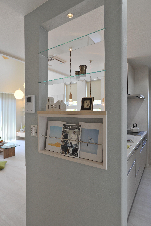 ヘルシーホーム 岡山モデルハウス フルハウス キッチン横壁 マガジン
