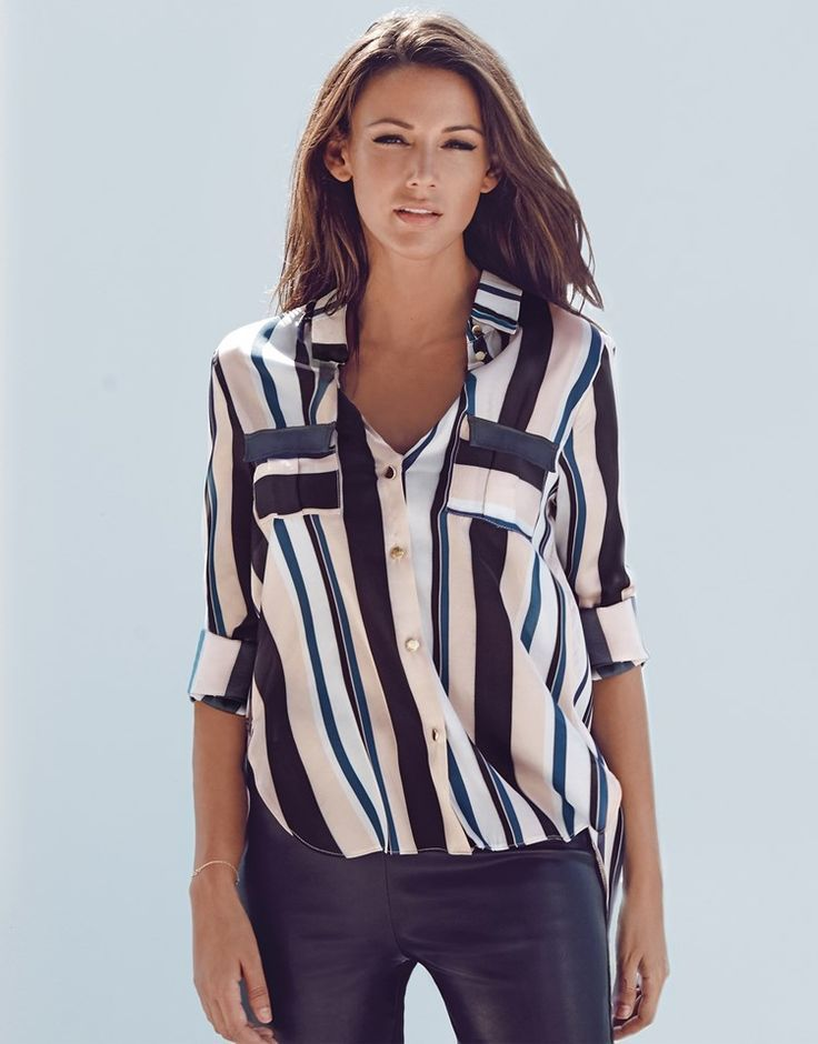 c5d2a241 Lipsy Love Michelle Keegan Split Back Striped Blouse - women's blouses and  shirts, white satin blouse, white and navy blouse *ad