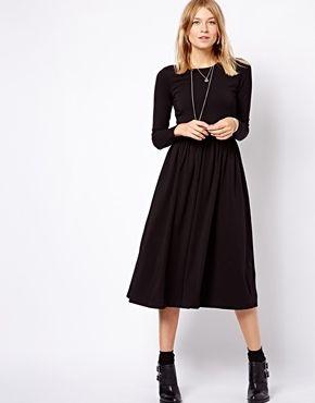 32cc8abdd5d Asos #currentlyobsessed Black Midi Dress, Midi Skater Dress, I Love  Fashion, Dark