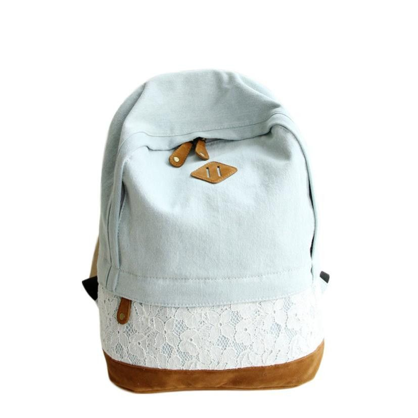 Best Gift Hcandice New Women Fashion Lace Denim Women Canvas Backpack Schoolbag bea676