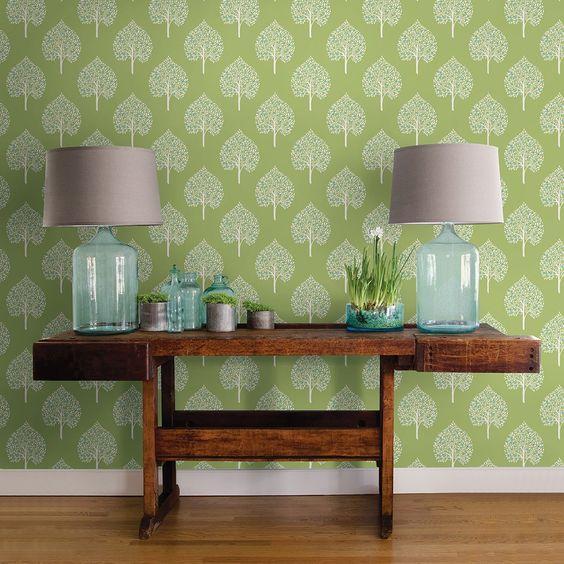 Best Pantone Greenery Wallpaper Rustic Table Blue Glass Lamps Home Wallpaper Tree Wallpaper Home 640 x 480