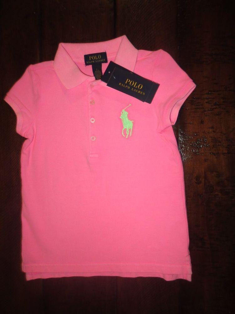 New Polo Ralph Lauren Girl S Polo Shirt Size 5 Big Pony Hot Pink Nwt Polo Shirt Girl Polo Girls Polo Ralph Lauren