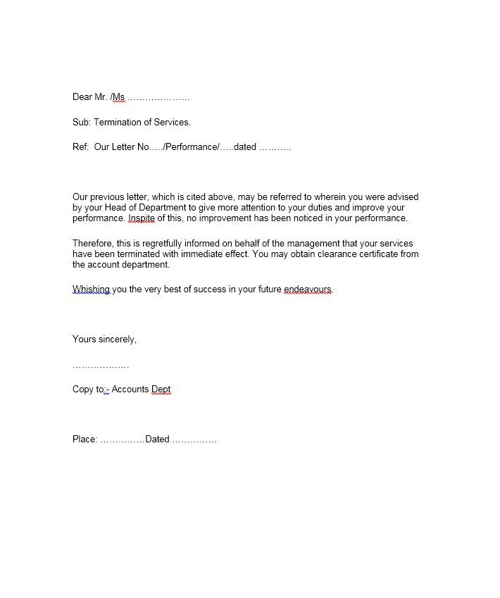 perfect termination letter samples lease employee contract free - employee termination letter format