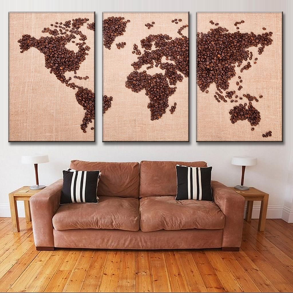New 3 Pcs Set Creative Coffee Bean World Map Canvas Paiting Fashion Print Picture For Coffee Shop Wall Art Painting Map Canvas Painting Coffee Shop Decor Decor
