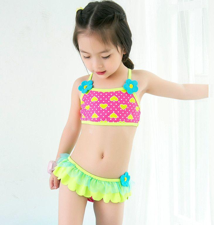 fbacd68c6ea2f retail cute children's swimsuit girls flower bikini baby girl swimwear  little girls swimsuits for children beach clothes