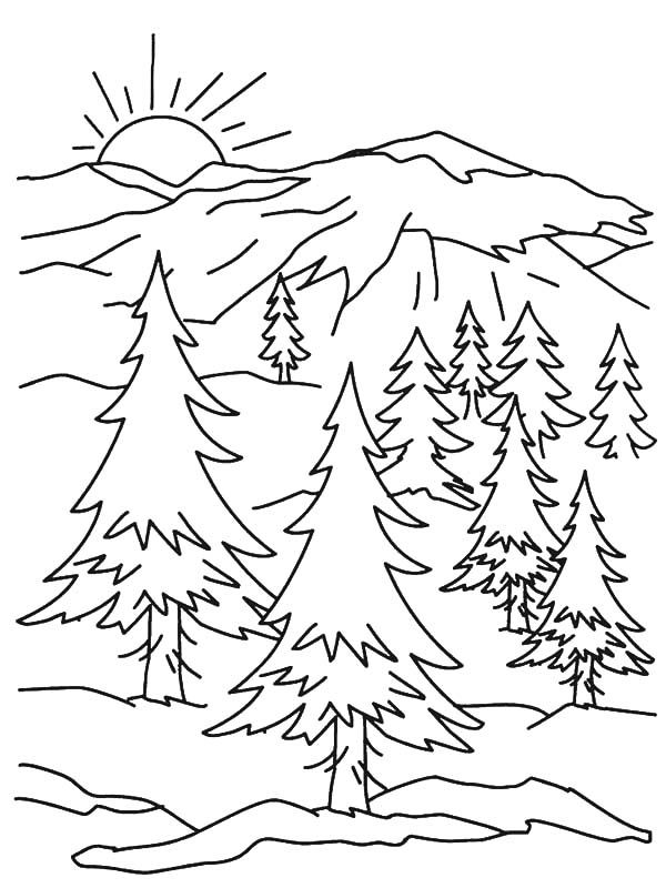 coloring pages printable mountains and trees # 0