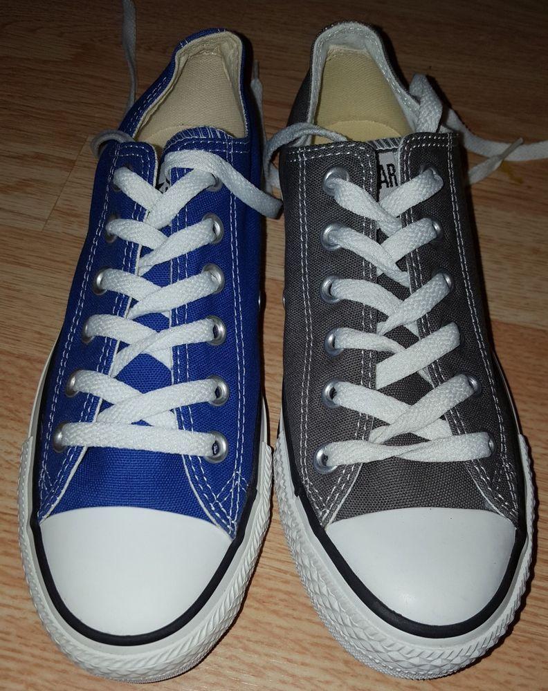 4b7b8f700e8b Converse men s 6 women s 8 mismatched low top shoes Dazzling blue Charcoal  gray