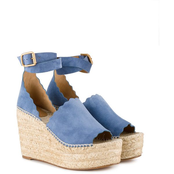 Chloé Blue Suede Lauren Wedges ( 560) ❤ liked on Polyvore featuring shoes