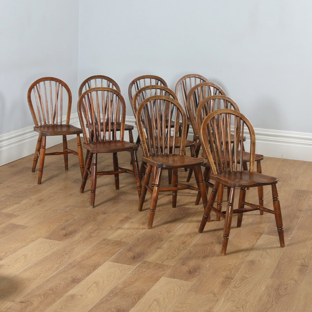 Antique Set Of Ten Victorian Ash Elm Stick Back Windsor Kitchen Dining Chairs Circa 1900 Vintage Dining Chairs Dining Chairs