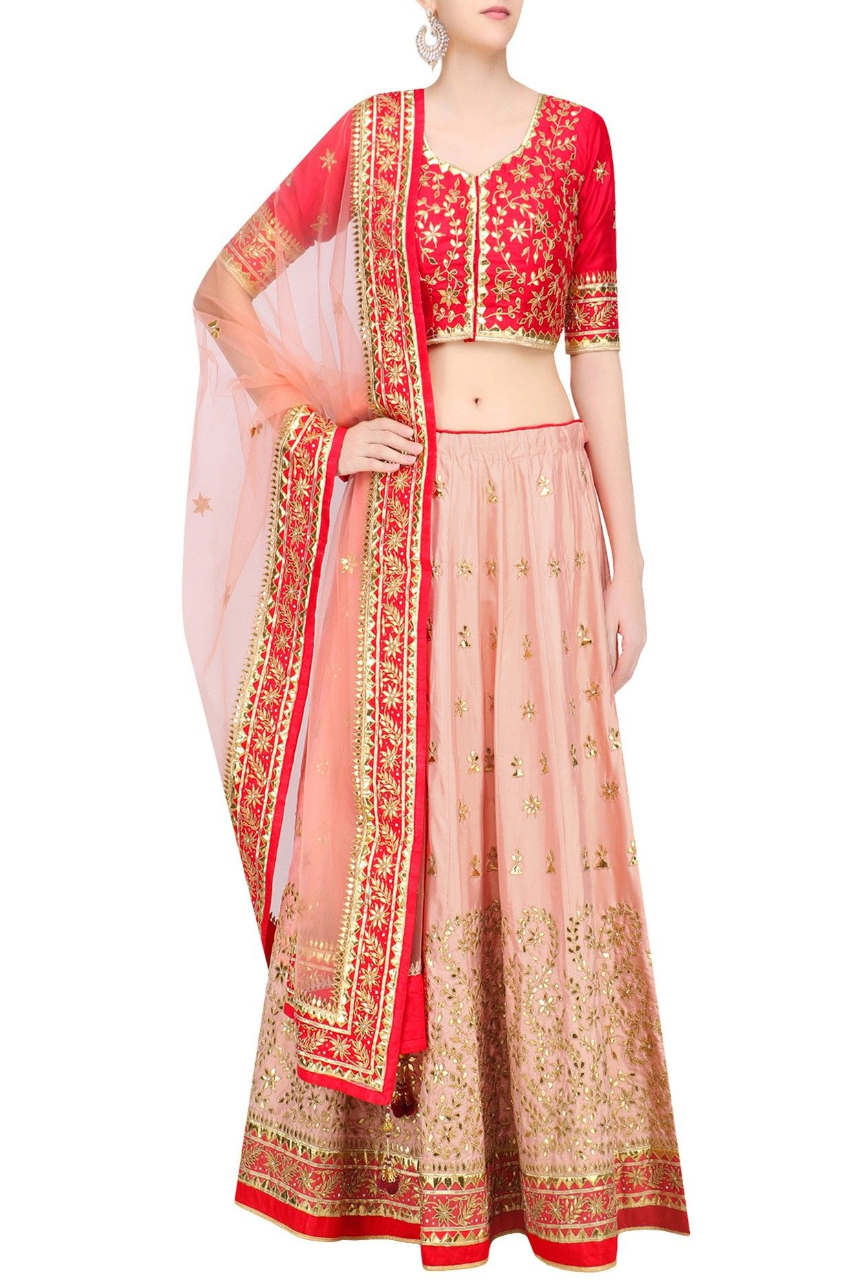 57ebe44aa3 Peach embroidered lehenga with red blouse and pale orange dupatta available  only at Pernia's Pop Up Shop.