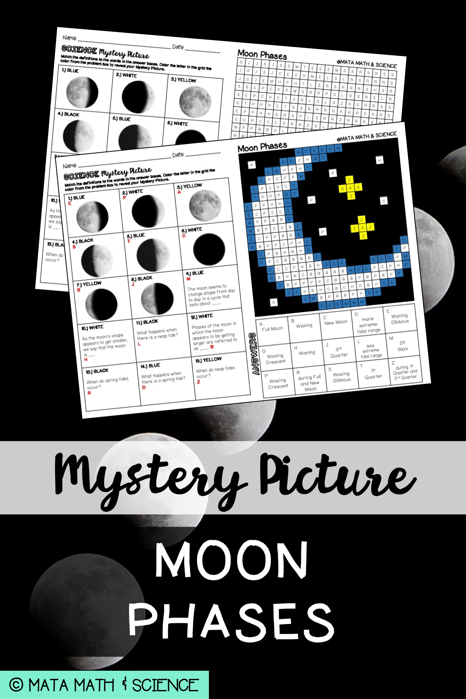 Moon Phases Science Mystery Picture