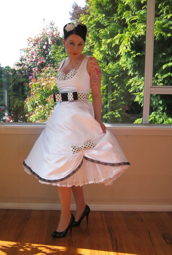 1950s Pin Up Audrey Wedding Dress In A With Polka Dot Bodice Belt And Organza Petticoat Tea Length Custom Made To Fit