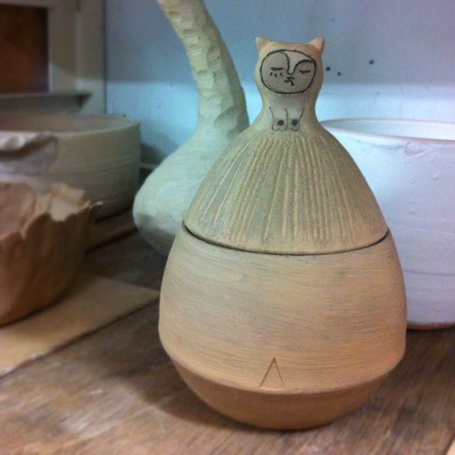Handmade ceramics cat box