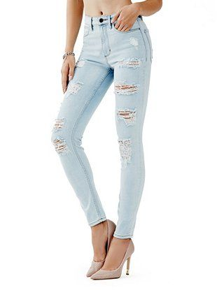 1981 High-Rise Skinny Jeans in Sawtelle Destroy Wash at Guess