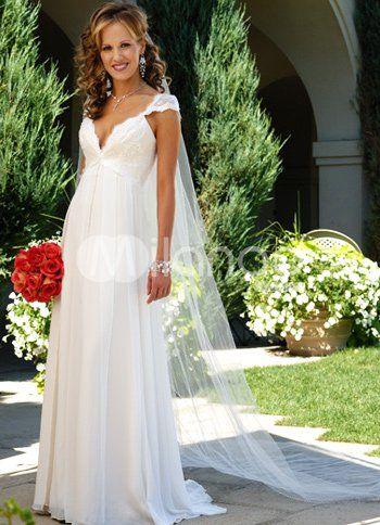 abd053b053cc ... V-neck Wedding Dresses. Good: deep v, flow to skirt, empire waist,  scallops in neckline. Bad: Not a lot of shape to skirt, broad shoulders.