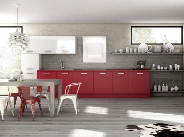 Une cuisine grise effet béton Sobre et élégante, cette cuisine - Photo Cuisine Rouge Et Grise