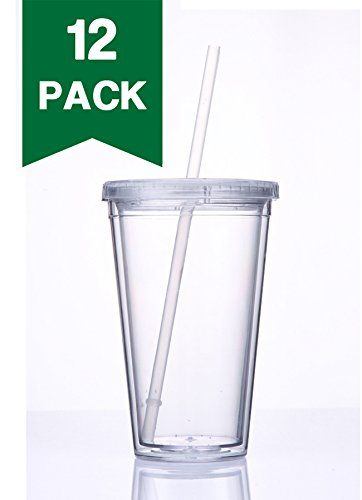 429d0df60a0 Cupture® Classic 12 Insulated Double Wall Tumbler Cup with Lid, Reusable  Straw & Hello Name Tags - 16 oz, Bulk Pack (Clear) $29