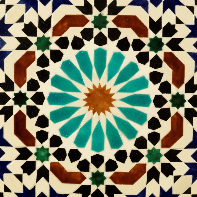Zillij moroccan ceramic tiles print on 24 x24 paper at Moroccan ceramic floor tile
