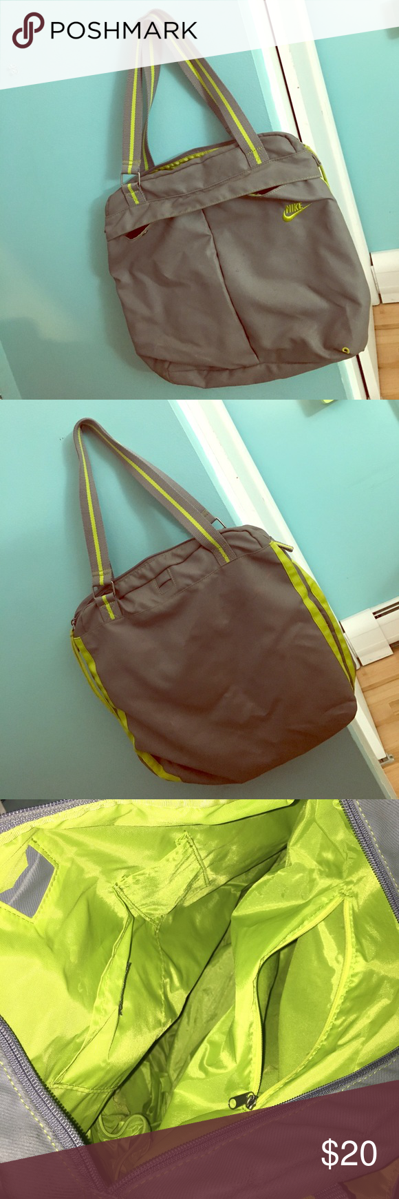 Nike Sports Bag Holds a pair of sneakers on the side and has a bunch of handy pockets inside! Nike Bags Shoulder Bags