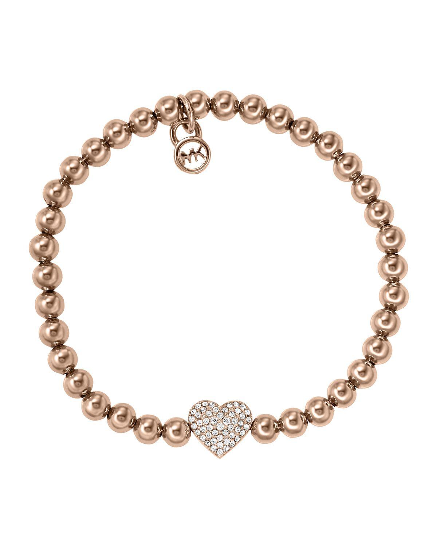 f5582e6f8835 Michael Kors Pave Heart Bead Bracelet
